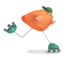Chick on roller skates. Watercolor illustration