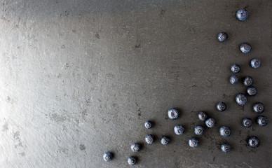 Blueberry on dark background, top view