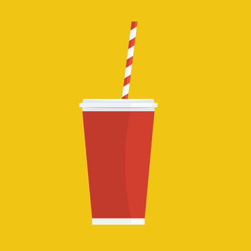 Soda with straw. Painted leading flat solid color design. Vector