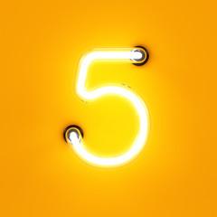 Neon light digit alphabet character 5 five font
