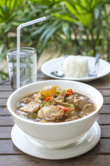 "braised pork soup hot and spicy herb what we call ""Moo Toon Super"" the delicious famous Thai food"