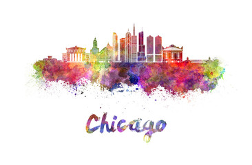 Fotomurales - Chicago skyline in watercolor