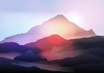 Mountain Landscape at Sunrise - Vector Illustration