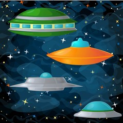 Set of ufo spaceships in comic cartoon style.