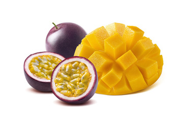 Mango cut maraquia passion fruit isolated on white background