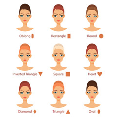 Vector set of different womans face types
