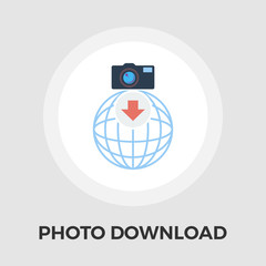 Photo download vector flat icon