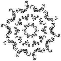 Black flower pattern tattoo