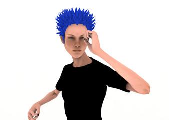 Man mit blauem Haar II