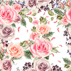 Pattern with watercolor realistic roses and berries.