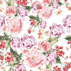 Watercolor pattern with peony flowers, roses and berries.