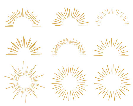 hand drawn sunbursts color gold