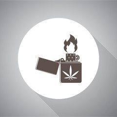 Lighter marijuana vector icon