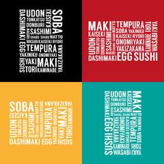 Japanese food advert background set