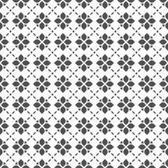 Black and white seamless flower pattern in oriental style