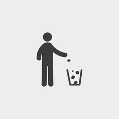 Through rubbish icon in a flat design in black color. Vector illustration eps10
