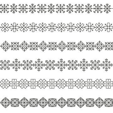 Variations of the ancient Latvian sun borders vector set -variable line-