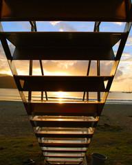 Lifeguard Tower Stairs at Hanalei Bay, Sunset