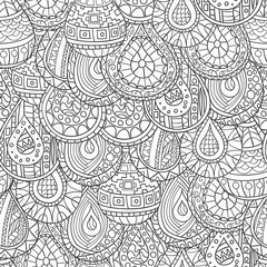 Seamless pattern of hand-drawn abstract, geometric drops,