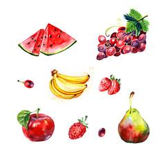 Watercolor red fruit set