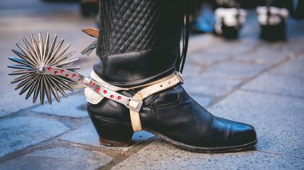 Typical chilean huaso shoe with espuelas