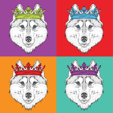 Image Portrait of husky with the crown. Pop art style vector illustration.