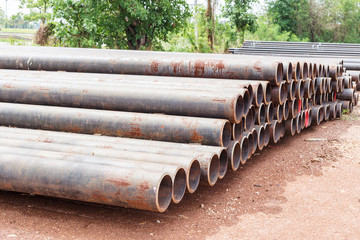 Steel pipes bunch in warehouse.