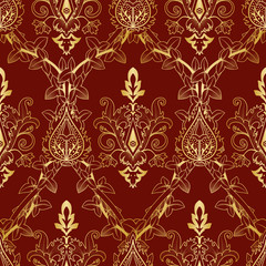 Seamless pattern floral Victorian gold