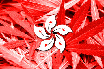 Flag of Hong Kong, on cannabis background