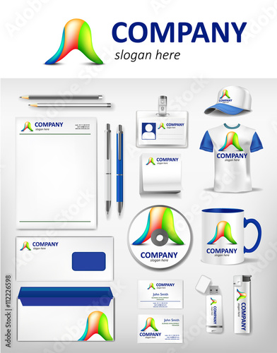 Corporate Green And Blue Identity Template Realistic Cup Business
