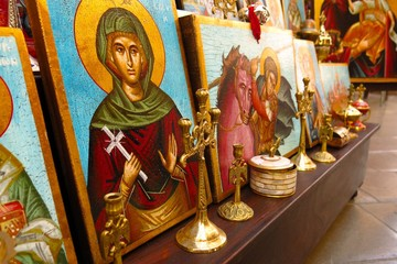 religious icons and paintings of saints