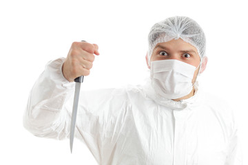 Insane medical staff member with a knife in his hand; isolated on white background