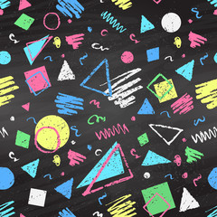 Geometric color chalked seamless pattern