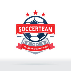 Soccer Club Logo, Football Team Badge with Field