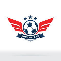 Soccer Wings Logo, Soccer Ball and Wing symbol, Football Team Badge