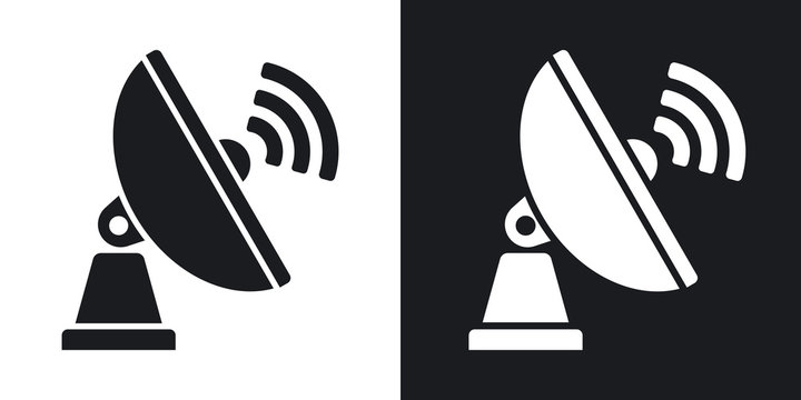 Vector Satellite Antenna icon. Two-tone version on black and white background