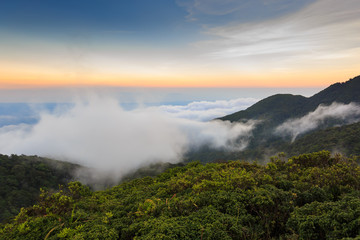 Mist of sea in twilight (Khao Luang Nakhon Si Thammarat, Thailand)