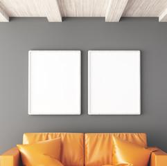 Due tele bianche appese a muro soggiorno