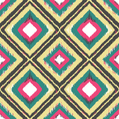 Geometric ethnic ornament ikat pattern seamless