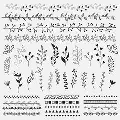 Hand Drawn vintage floral elements.