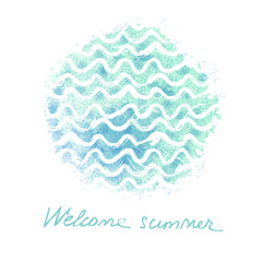 Vector watercolor hand drawn background with sea waves. Summer universal card with doodle watercolor texture