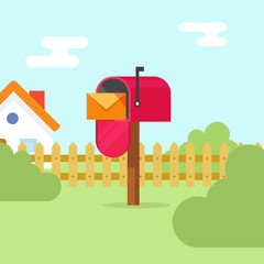 Mailbox with letter envelope and house landscape vector illustration, open flat red mail box on summer scene, concept of mail delivery