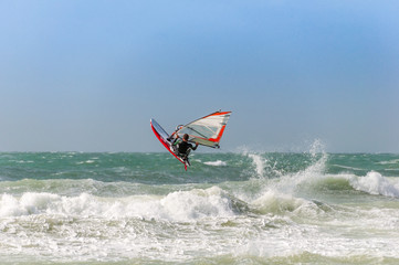 Wave-Jumping windsurfer