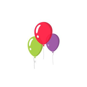 Balloons vector isolated on white background, three flat cartoon festive balloons flying