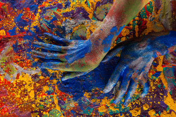 hand in paint on canvas