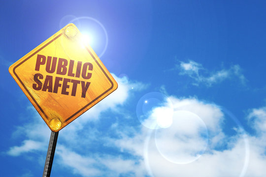 public safety, 3D rendering, glowing yellow traffic sign