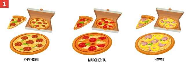 Whole pizza and slices of pizza in open white box. Pepperoni, Hawaiian, Margherita. Vector isolated flat illustration for poster, menus, brochure, web and icon
