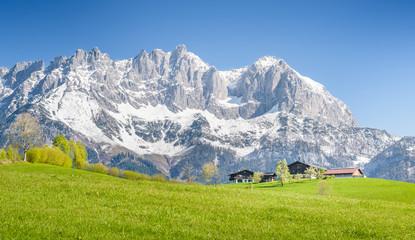 Mountain Farm in front of Wilder Kaiser, Kitzbühel, Tyrol, Austria