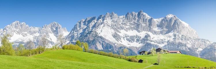 Mountain Farm in front of Wilder Kaiser, Kitzbühel, Tyrol, Austria Wall mural