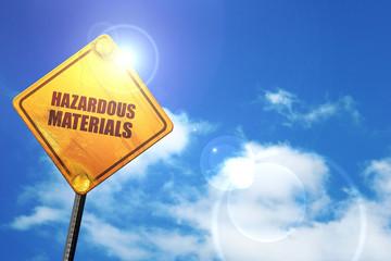 hazardous materials, 3D rendering, glowing yellow traffic sign